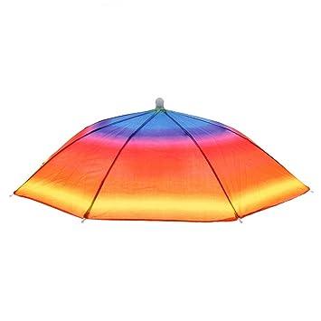 Magideal Fishing Hiking Golf Beach Foldable Headwear Parasol Umbrella Hat Cap