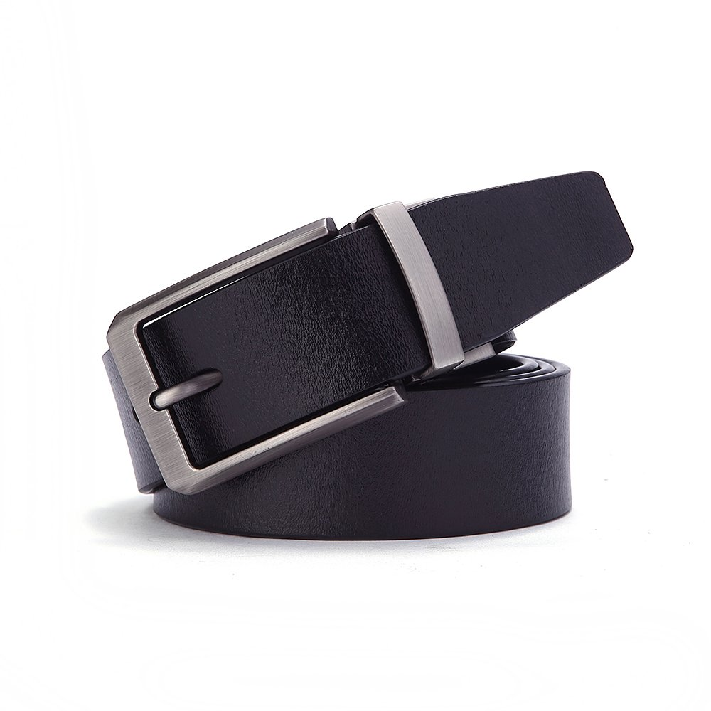 Men/'s Genuine Leather Reversible Dress Belt With Rotated Buckle Gift Box