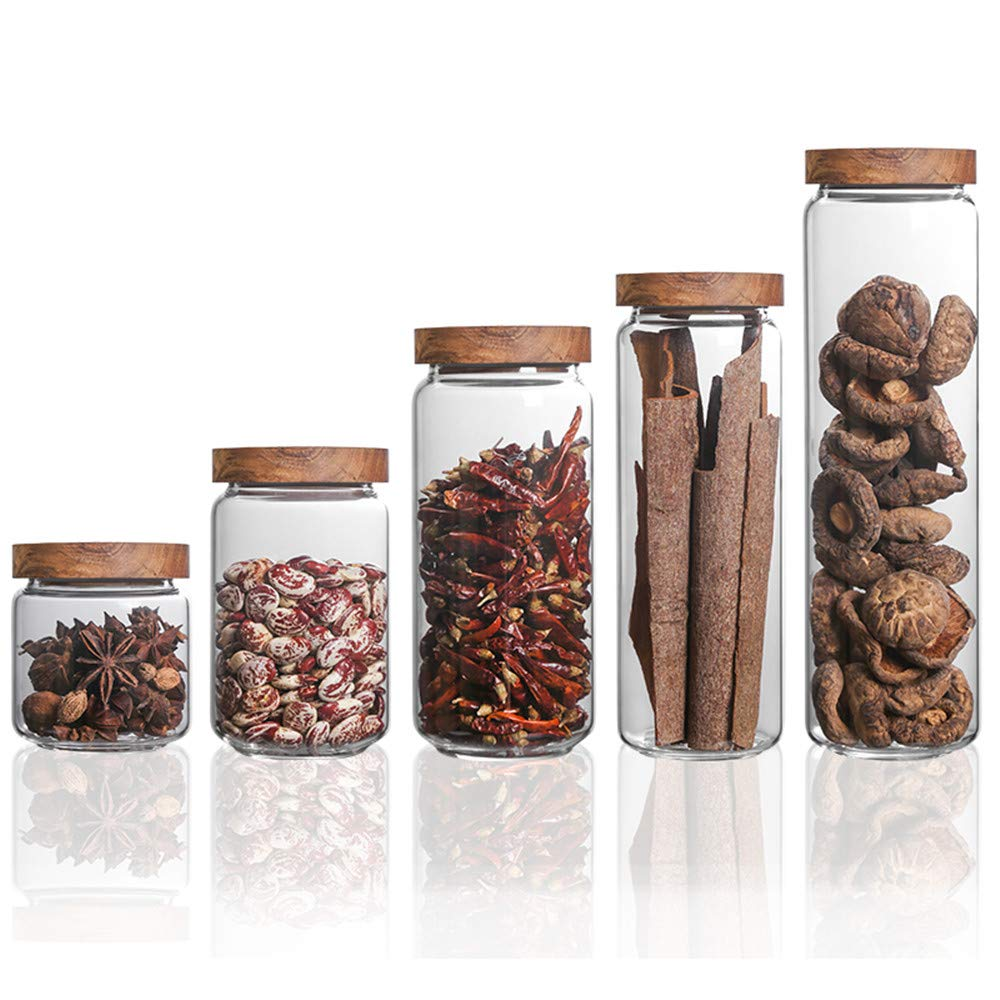 Danmu 5Pcs a Set Glass Storage Jars Kitchen Jars with Airtight Wood Lids Tea Coffee Bean Jar Cookies Flour Sugar Candy Spice Container 8oz 15oz 25oz 32oz and 52oz