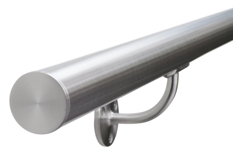 Pasamanos de acero inoxidable cepillado con remates planos de longitudes personalizables