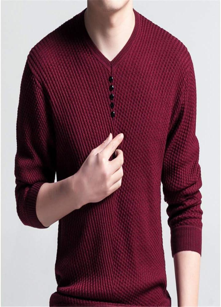 Flying Lisa Sweater Hombres Casual Jersey con Cuello en v Hombres Otoño Slim Fit Camisa de Manga Larga para Hombre Suéteres de Punto: Amazon.es: Ropa y accesorios