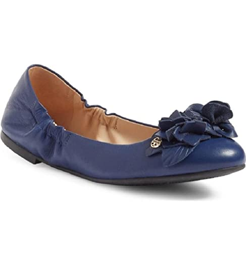 Tory Burch Blossom Ballet Ballerina Flat, Blue Navy Sea (6.5)