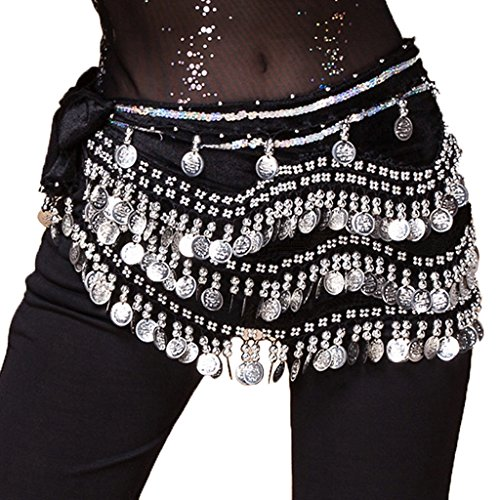 (Wuchieal Women's Belly Dancing Belt Colorful Waist Chain Belly Dance Hip Scarf Belt (One Size, Black -Silver coins))