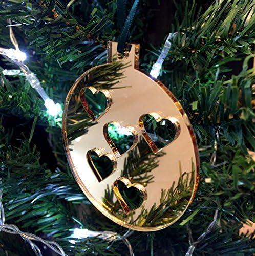 Super Cool Creations Bola Corazones Adornos para Árbol de Navidad - Pack de 10 - Oro: Amazon.es: Hogar