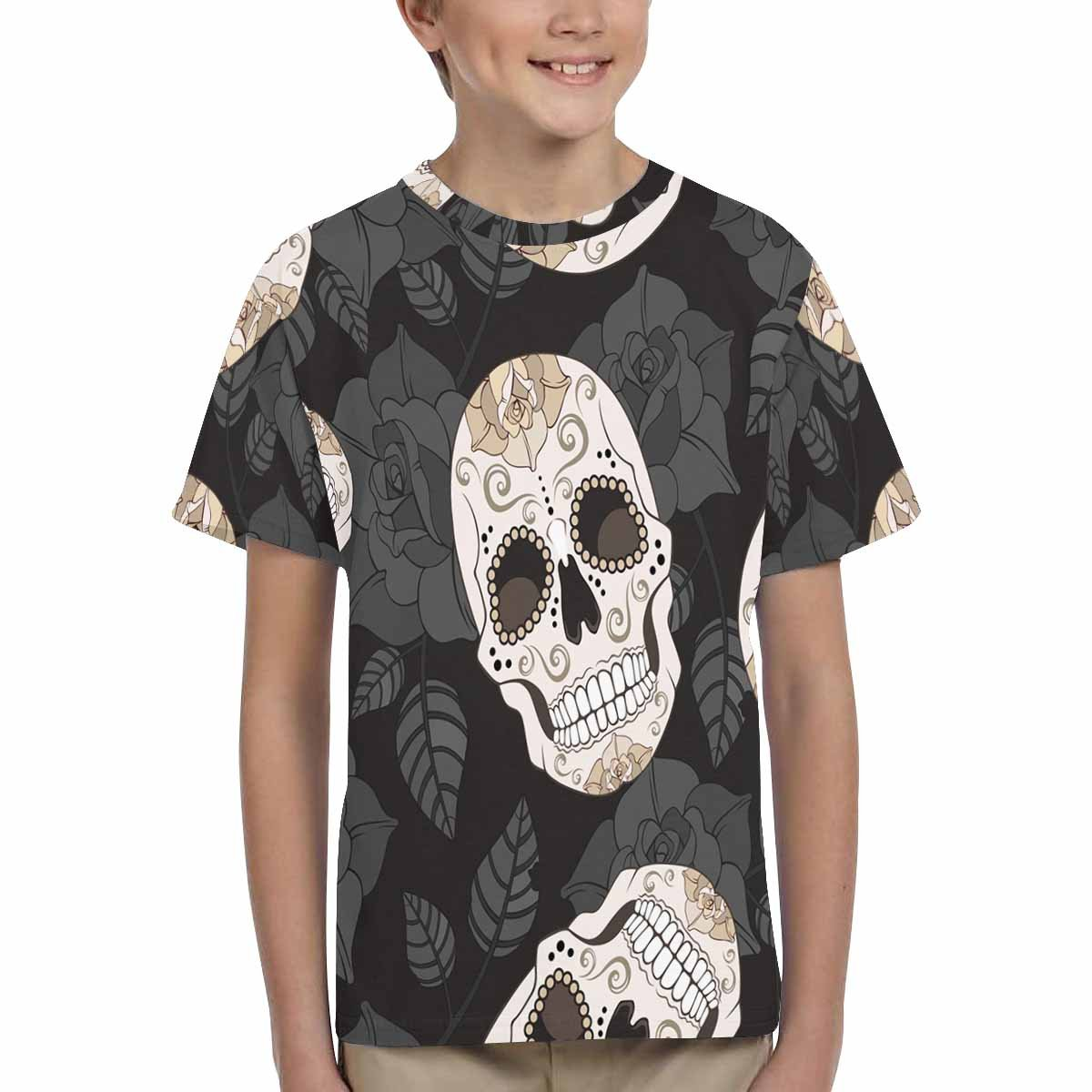 INTERESTPRINT Kids T-Shirts Roses and Sugar Skulls XS-XL