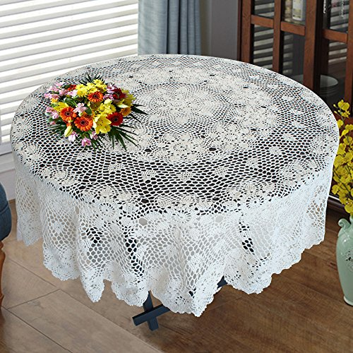USTIDE Handmade Cotton Crochet Tablecloth Round White Crochet Lace Table Overlays Designer Table Covers 48-inch