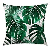 HGOD DESIGNS Tropical Leaf Throw Pillow Case,Beautiful Tropical Palm Tree Leaves Design Satin Cushion Cover Square Standard Home/Sofa Decorative for Men/Women 18x18 inch Green