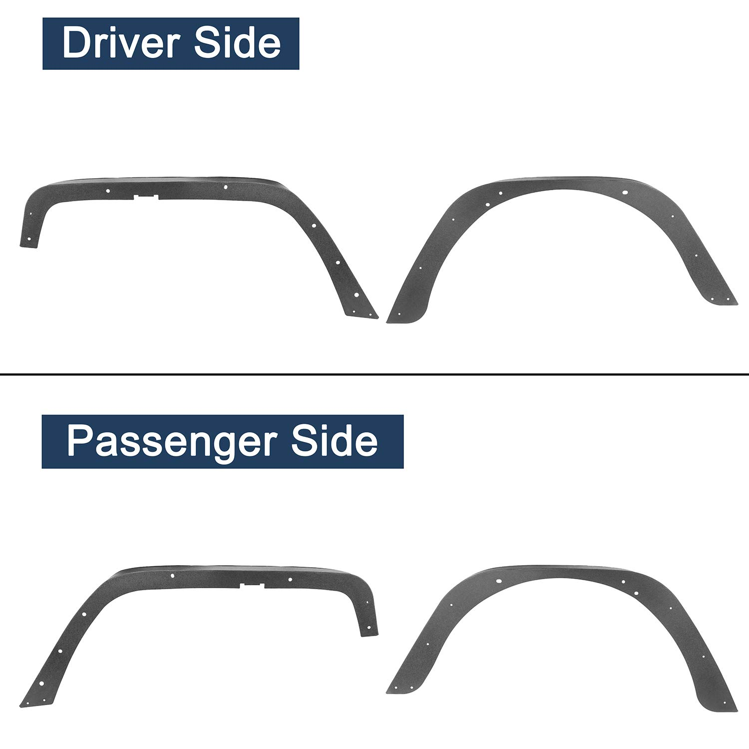 Set Off Road Steel Flat Front /& Rear Fender Flares Guard for 1997-2006 Jeep Wrangler TJ Wrangler Unlimited