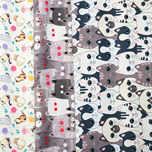 3 Pieces Cute Animals Cat Fabric Bundles, 3 Yards Cotton Fabric Bundle Patchwork, 57 x 36 Inch Quilting Sewing Patchwork 3 Different Pattern Cloths for DIY Scrapbooking Art Craft Fabric (Cat)