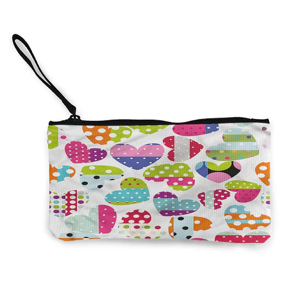 Clutch Pouch Small Purse Colorful,Heart Patches and Dots,Womens Coin Purses For Girls,Ladies,Womens