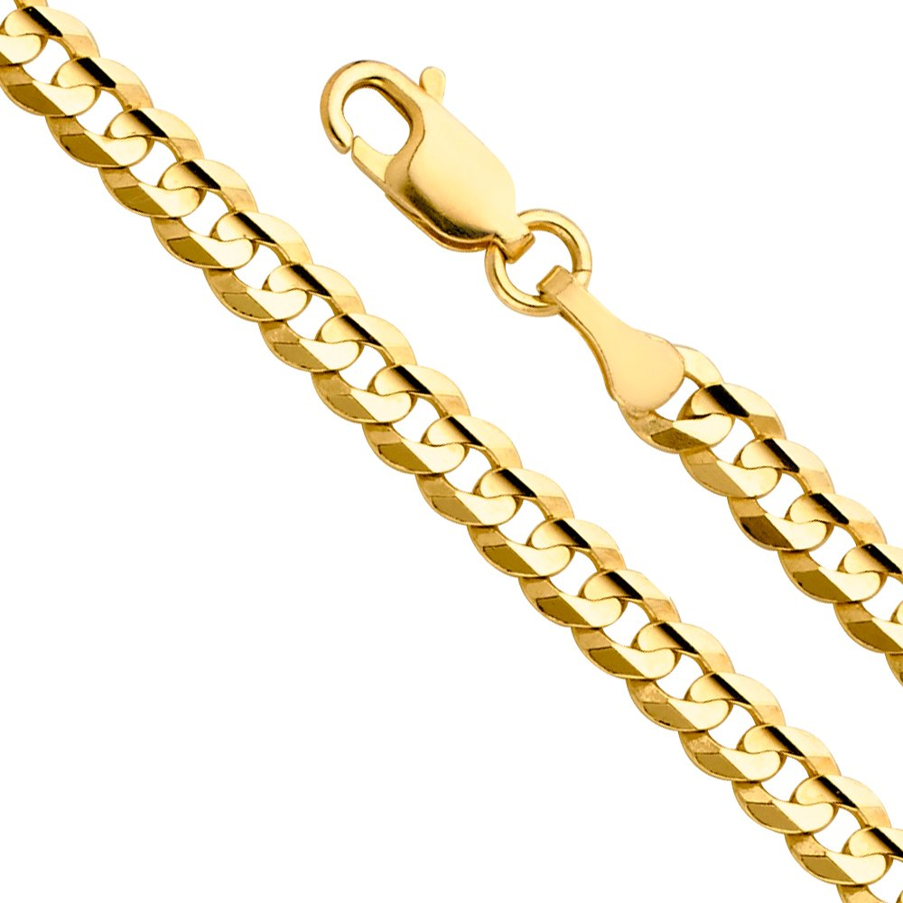 14k Yellow Gold Solid Men's 8mm Cuban Concave Curb Chain Necklace with Lobster Claw Clasp - 24''
