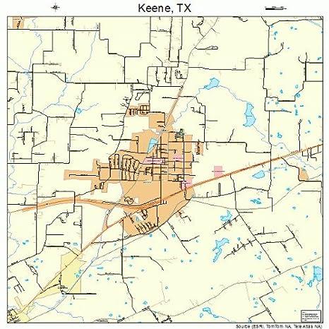 Amazon.com: Large Street & Road Map of Keene, Texas TX - Printed ...