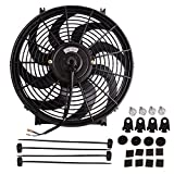 "14"" Electric Radiator Cooling Fan Assembly Kit 2000CFM Universal Slim Engine Fan Mounting Kit Reversible 12V 90W (Diameter 13.82"" Depth 2.56"")"