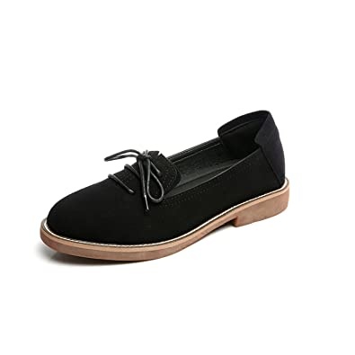 Amazon.com | Baqijian Woman Flats Lace Up Loafers Faux Suede Women Shoes Black Slip On Shoes Low Heels Casual Shoes Zapatos Mujer 60H41 | Shoes