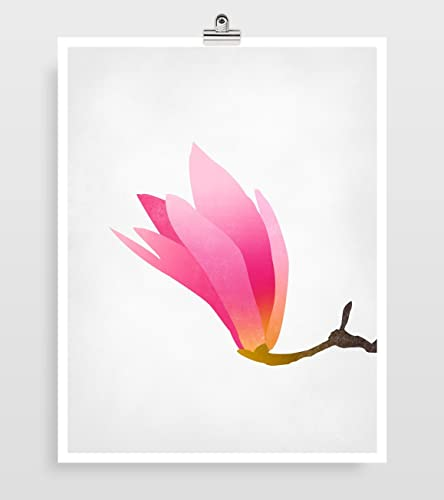 Amazon.com: Magnolia Pink Wall Art Print, Flower Art, Floral Wall ...