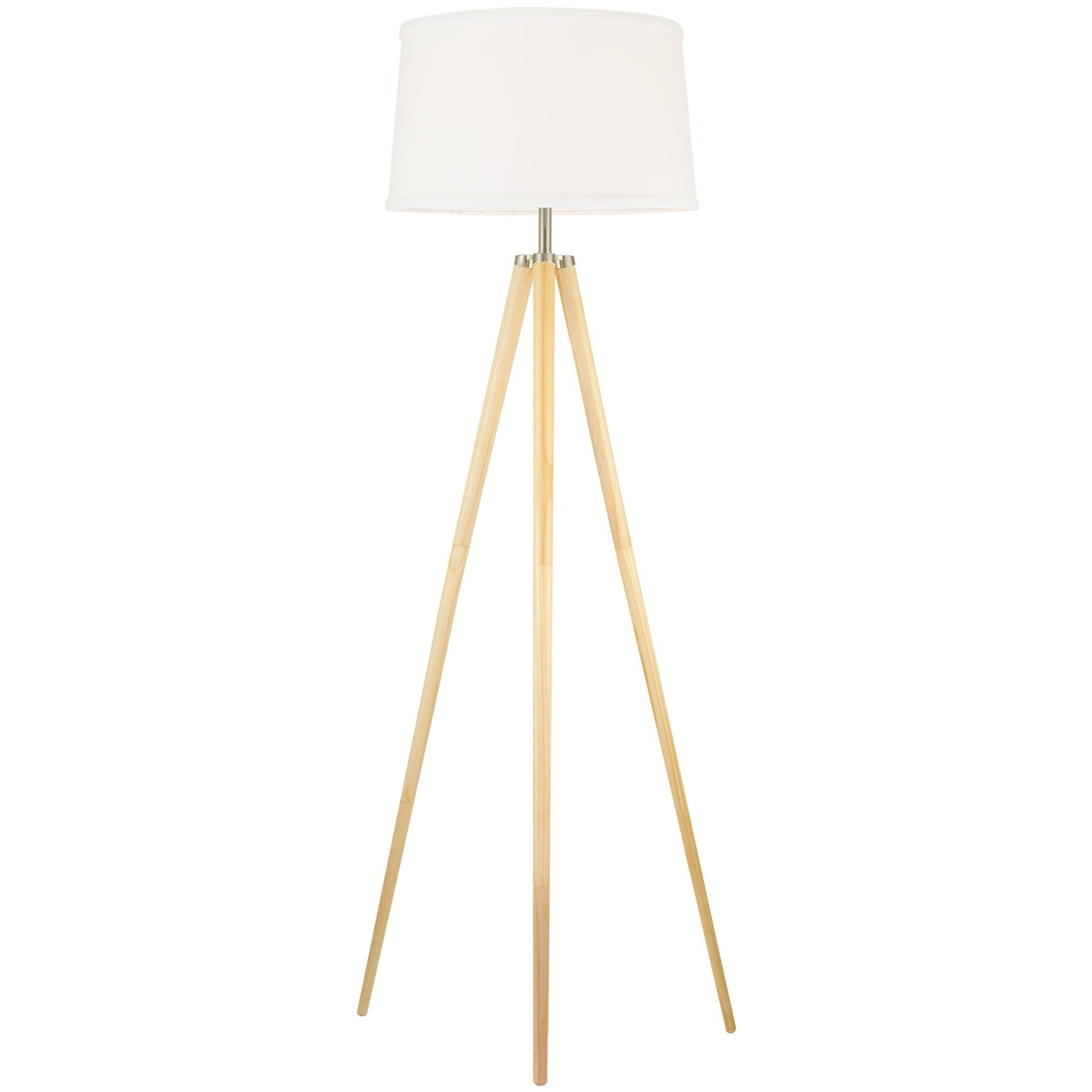 Revel Grace 60.5'' Contemporary Wooden Tripod LED Floor Lamp + 10.5W Bulb (Energy Efficient/Eco-Friendly), White Shade