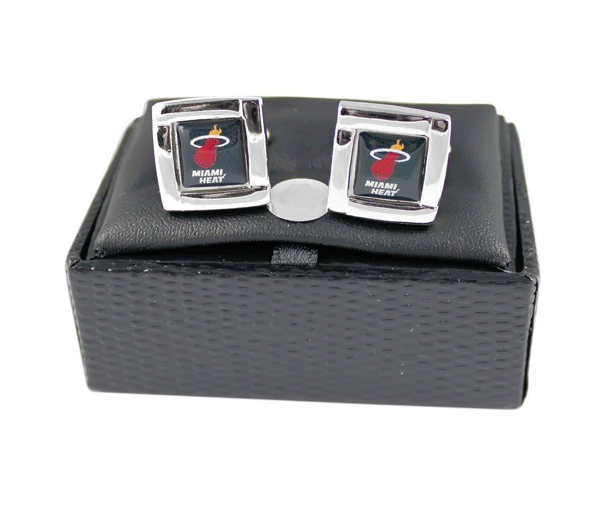 NBA Miami Heat Sports Team Logo Square Cufflinks Gift Box Set