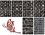 133 Pcs Airbrush Glitter Tattoo Stencil Kit,Temporary Tattoo Body Art Drawing Template,Small Cute Flower Butterfly Cartoon Henna Tattoo Stencil for Children, Teenagers & Adults