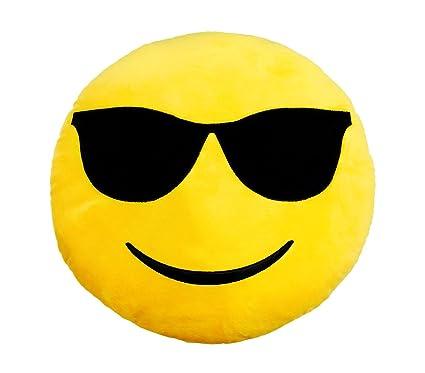 557316 Almohada emoticono muy suave motivo cara con gafas de ...