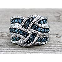 Aisamaisara Elegant 925 Sterling Silver Mirco Pave Blue White Sapphire Bridal Wedding Ring (7)