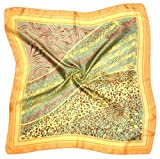 Green Yellow Abstract Printed Small Square Fine Silk Scarf