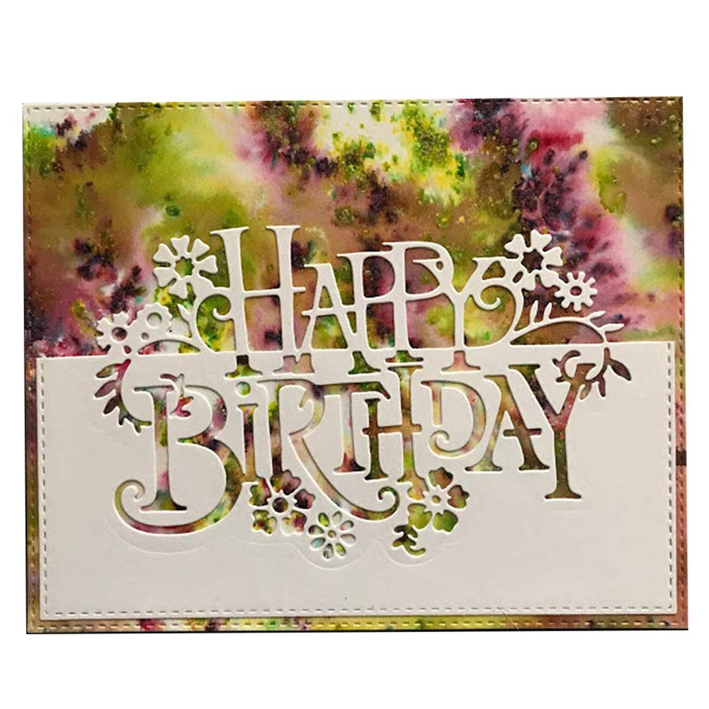 Birthday Wishes DIY Cutting Dies Stencil Scrapbook Paper Cards Craft Embossing