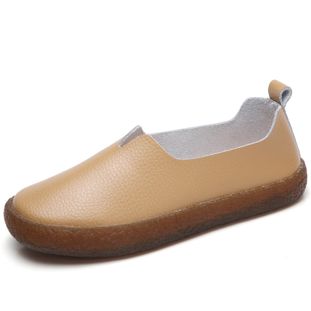 Cooga Women's Classic Leather Flats Slip On Memory Foam Cushioned Casual Walking Shoes Brown 8 B(M)