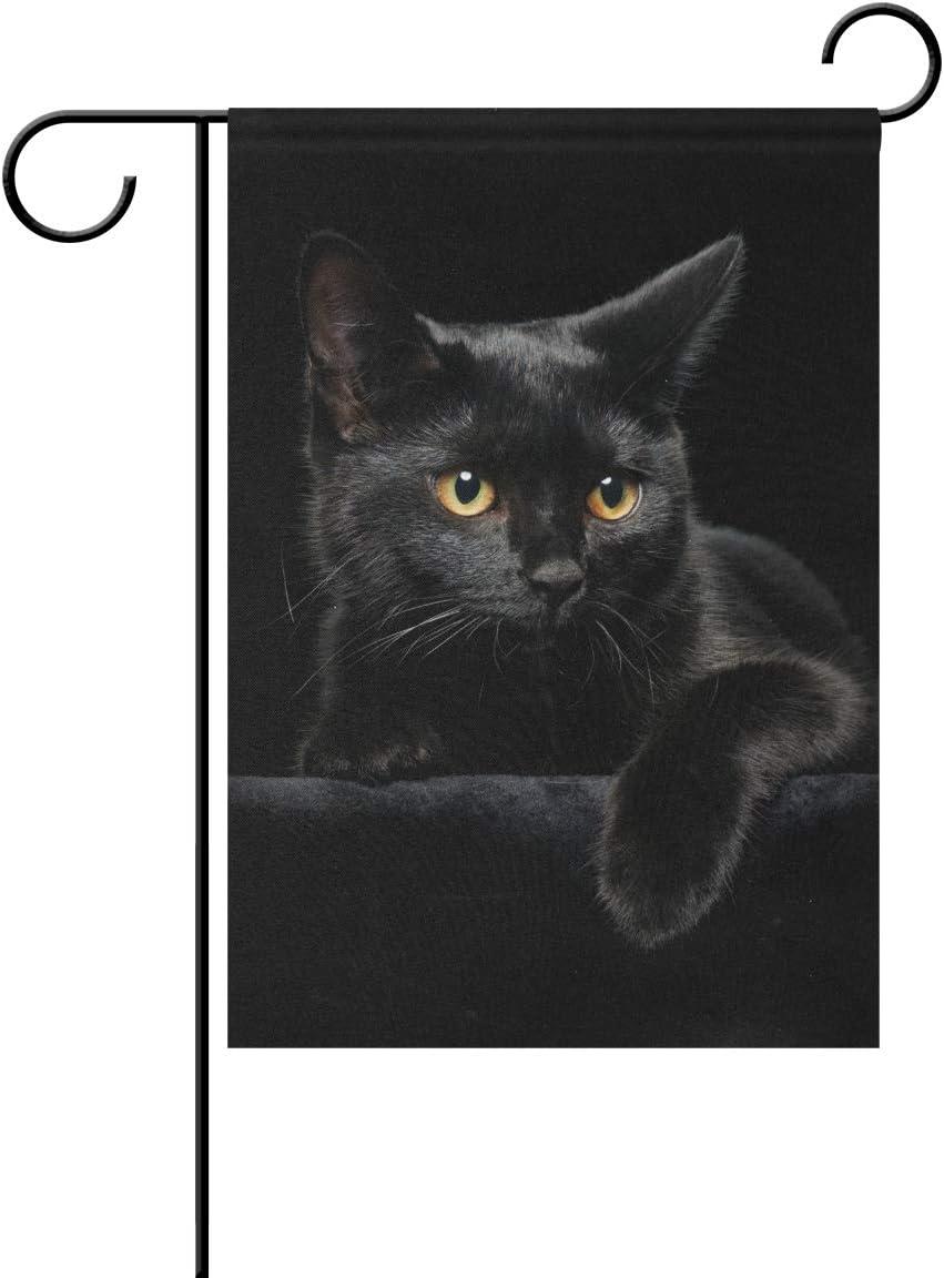 EELa MOOZUU Black Cat Yard Flag 12 X 18 Inch Decorative House Garden Flag Farmhouse Double-Sided Gift