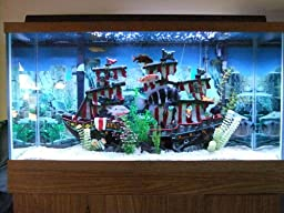 Penn plax striped sail shipwreck aquarium for Fish tank shipwreck