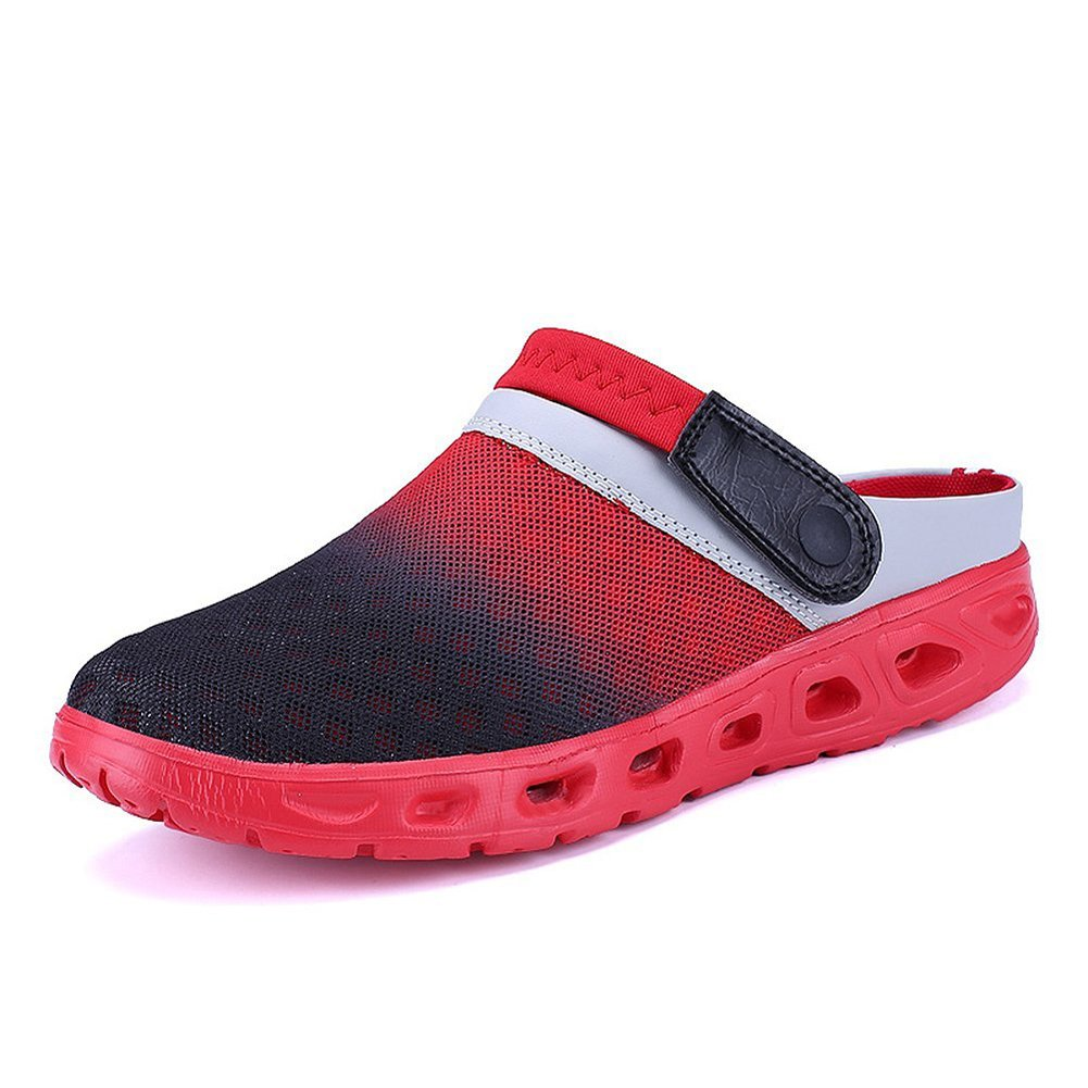 CCZZ Men's and Women's Summer Breathable Mesh Beach Sandals Slippers Quick Drying Water Shoes Amphibious Slip On Garden Shoes B07BWM8MWQ US 9.5=EU 44|Red