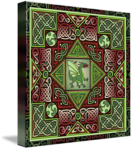 Wall Art Print Celtic Dragon Labyrinth by Kristen Fox