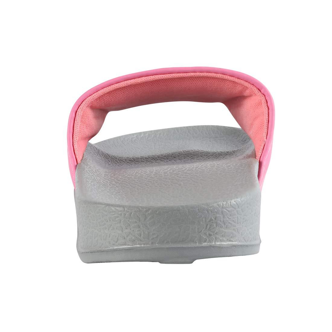 ZooYi Boys Girls Cartoon Bathroom Slide Slippers Kids Indoor Outdoor Soft Sandals Water Flip Flop Shoes (2 Little Kid, Pink)