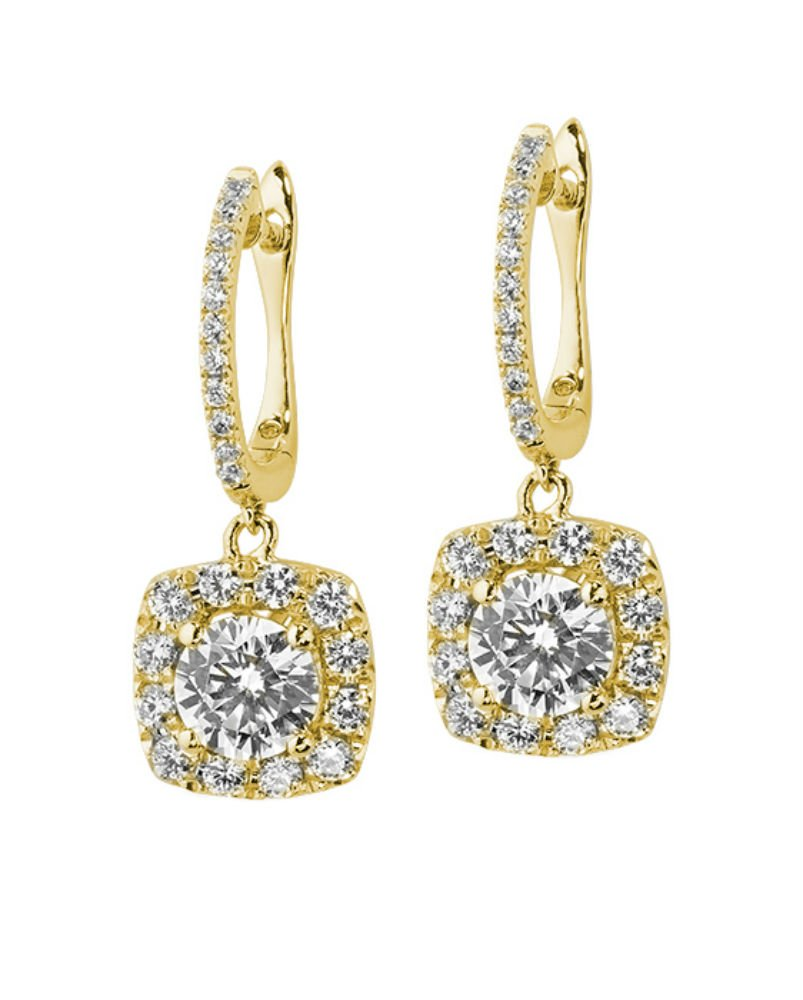 Forever Classic 3.3mm Round Moissanite Dangle Earrings, 0.58cttw DEW By Charles & Colvard