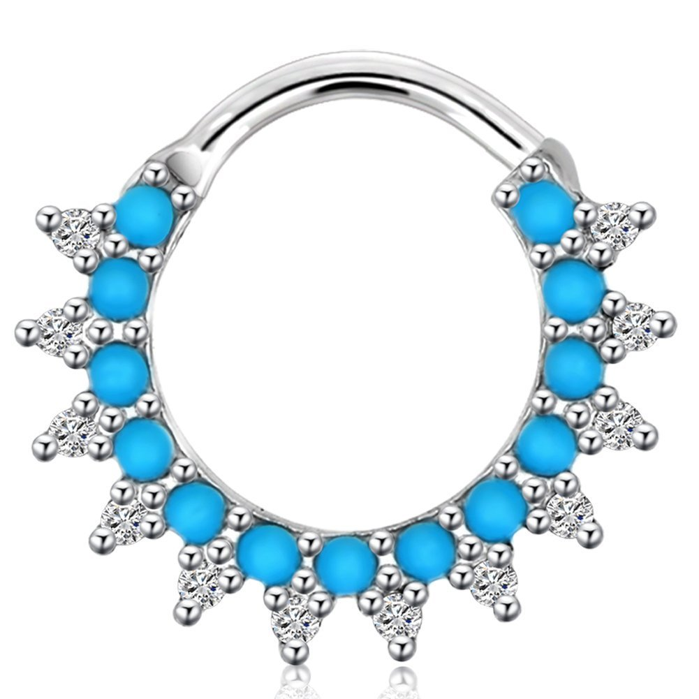 Jewseen 1pc 16g Septum Clicker Hoop Turquoise Beads Sparkling Septum Ring Nose Rings Daith Earrings Body Piercing Jewelry by Jewseen