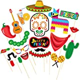 OULII Mexican Photo Booth Props Fiesta Cinco De Mayo Party Supplies Carnival Props for Wedding Birthday Party Favors 20PCS