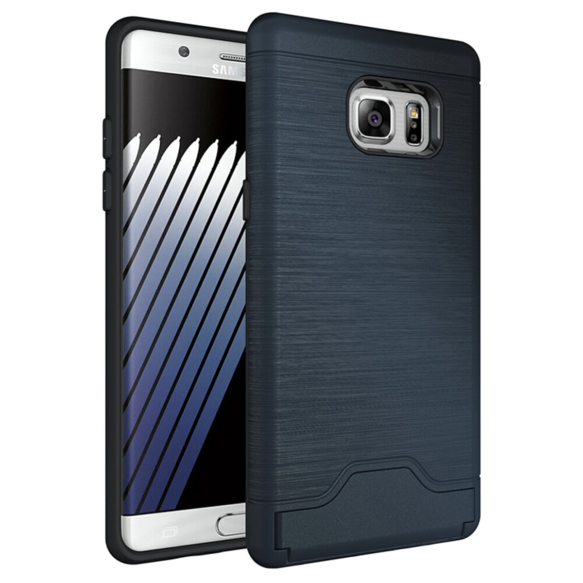 Galaxy Note 7 Case, CHIHENG Slim Brushed Armor Rugged Defender Back Shell Shock-Absorption [Card Slot] Dual Layer Protective Case Cover for Samsung Galaxy Note 7 5.7' Navy CA-295077
