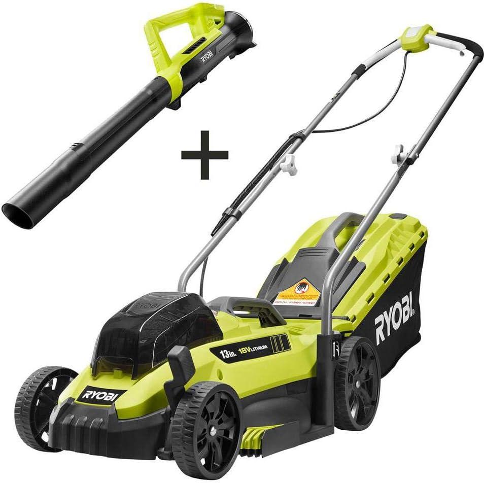 RYOBI Cordless Lawn Mower with Leaf Blower
