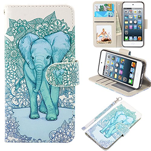 iPod Touch Case, UrSpeedtekLive iPod Touch 5 Case, iPod Touch 6 Case, Premium PU Leather Wristlet Flip Case Cover with Card Slots & Stand for Apple iPod Touch 5 /6 , Elephant