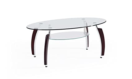 Amazoncom Hodedah Two Tier Oval Tempered Glass Coffee Table Clear