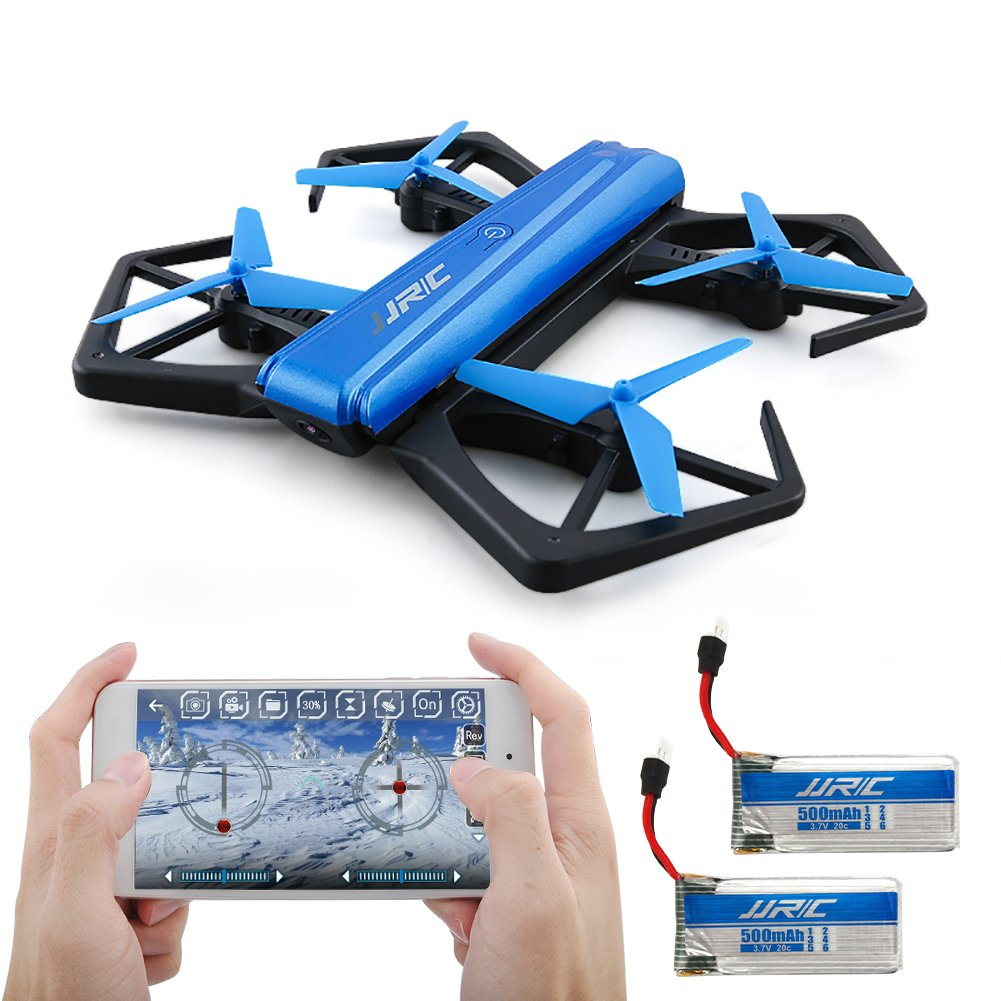 Mini Foldable Drone for Kids, Kingtoys Quadcopter with WiFi 720P HD Camera, APP Control FPV and Headless Mode Function with 2pcs 500mAH Batteries