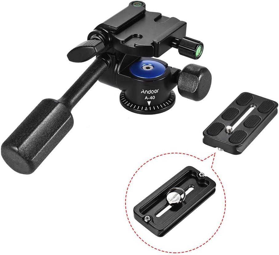 Andoer A-40 3 Way Camera Video Head Aluminum Alloy 360/° Panoramic Photographic Damping Head for Canon Nikon Sony Tripod Monopod Slider
