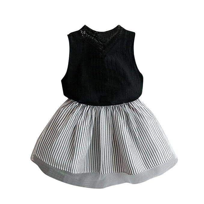 Blusas de niñas, FAMILIZO Bebés Niñas NiñA Ropa Blusa Sin Mangas Camiseta + Stripe Conjunto
