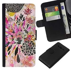 KingStore / Leather Etui en cuir / Samsung Galaxy A3 / Planta de Arte Abstracto Dibujo;