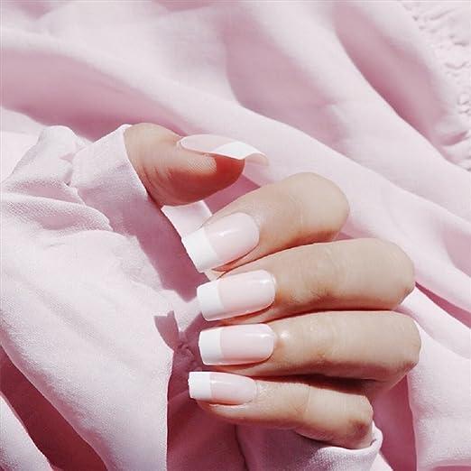 Mimei 24 Piezas Uñas Postizas Manicura Francesa, Uñas Postizas Cortas Rosas, Unas Postizas para acrilico para Dia de la Madre, San Valentin, Halloween, ...