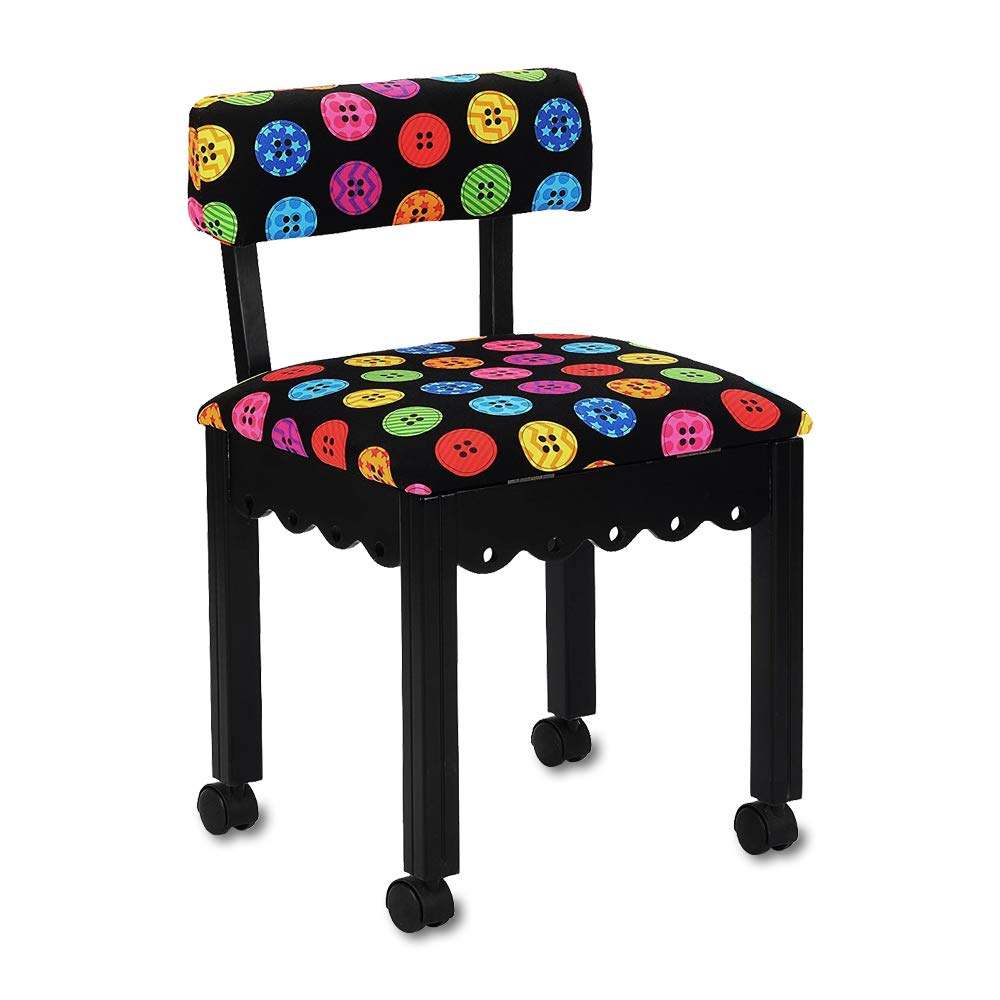 Arrow Sewing Chair in Black with Button Fabric by Arrow (Image #1)