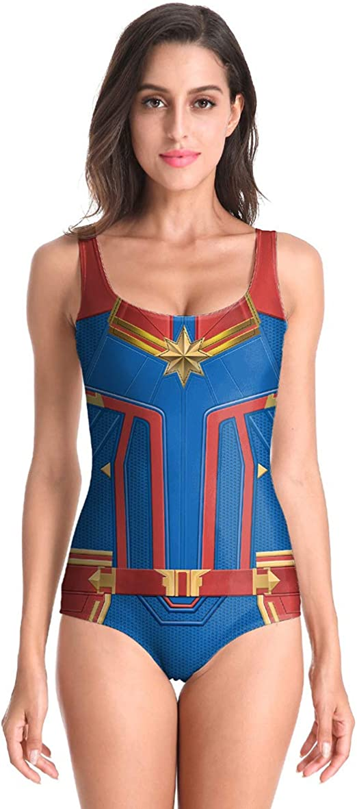 QQWE Captain Marvel Fancy Dress Clothing Ladies Cosplay