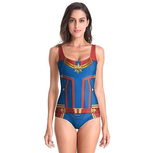 Capitán Marvel Ropa elegante para mujer Traje de baño cosplay ...