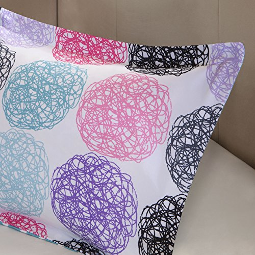 Mi Zone Carly Comforter Set full Queen Size Teal Purple Doodled Circles Polka Dots 4 Piece Bed Sets very gentle Microfiber Teen Bedding For Girls Bedroom