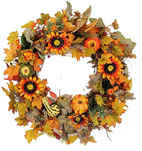 Harrington Outdoor Silk Door Fall Wreath 22 in - Sunflowers and Foliage Liven Front Door Decor, Approved For Covered Outdoor Use, Made By Hand -