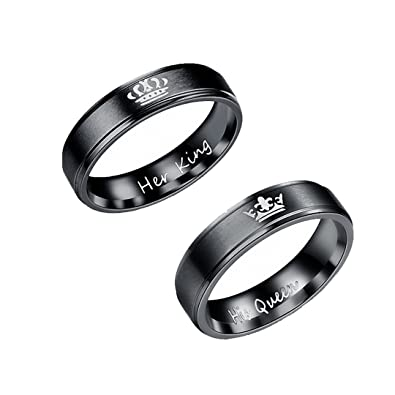 Amazon Com Kalapure King And Queen Titanium Ring His And Hers